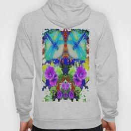 Purple Flowers with Flirting Blue Dragonflies Western Art Hoody