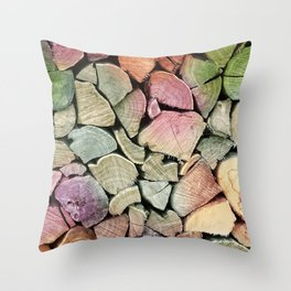 colorful wood Throw Pillow