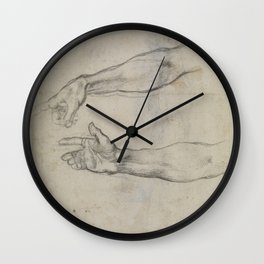 Michelangelo - Studies for the fresco 'The Drunkenness of Noah' in the Sistine Chapel (1509) Wall Clock