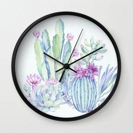 Mixed Cacti Light Blue #society6 #buyart Wall Clock