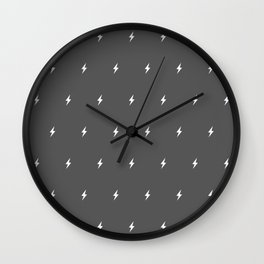 White Lightning Bolt pattern on Dark Grey background Wall Clock