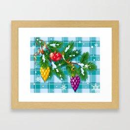 Christmas balls on the pine branch Framed Art Print