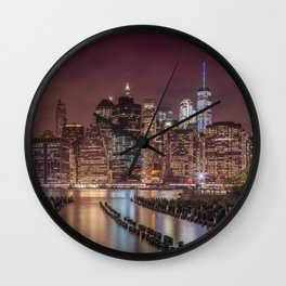 NEW YORK CITY Nightly Impressions | Panoramic Wall Clock