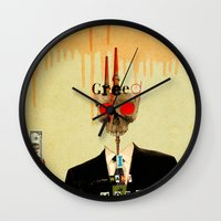motivation Wall Clocks featuring Mankind Motivation 1 by Marko Köppe