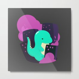 Angry and cute dinosaur Metal Print