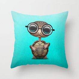 Cute Nerdy Turtle Wearing Glasses Throw Pillow