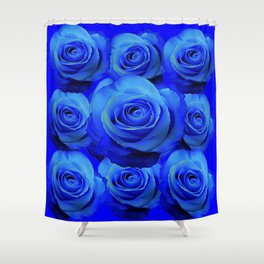 AWESOME BLUE ROSE GARDEN  PATTERN ART DESIGN Shower Curtain