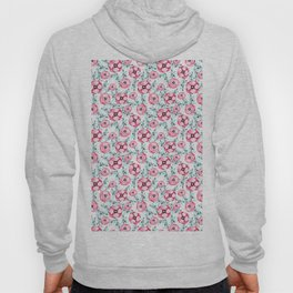 Magenta pink teal aqua watercolor modern floral Hoody