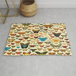Vintage Colorfull Butterflies Collection Rug