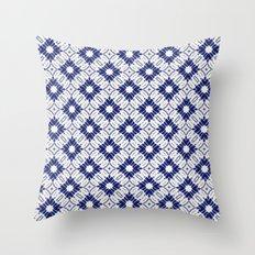 Watercolor Shibori Blue Throw Pillow