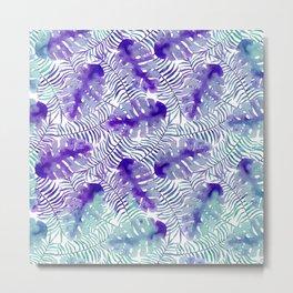 Tropical purple violet teal watercolor monster leaves Metal Print