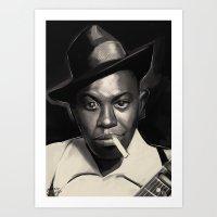 allyson johnson Art Prints featuring Robert Johnson by Brad Collins Art & Illustration