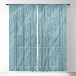 Teal Banana Leaf Sheer Curtain