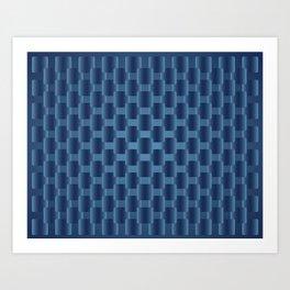 background dark blue  squares Art Print