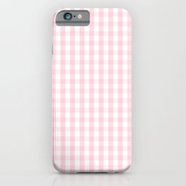 Light Soft Pastel Pink and White Gingham Check Plaid iPhone Case