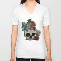 girly V-neck T-shirts featuring Girly Skull by Bloody Kingdom