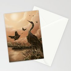Crane and moth  Stationery Cards