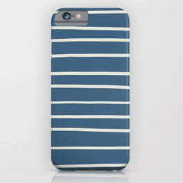 Linen White Thin Hand Drawn Line Pattern on Blue Pairs To 2020 Color of the Year Chinese Porcelain iPhone Case