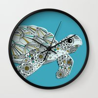 sea turtle Wall Clocks featuring Sea Turtle by Rachel Russell