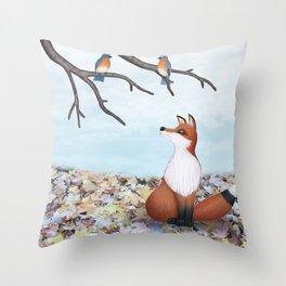 fox and eastern bluebirds Throw Pillow