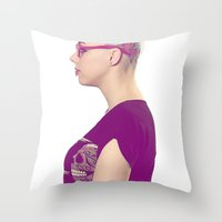 harley Throw Pillows featuring harley by Chad spann