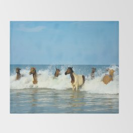 Wild Horses Swimming in Ocean Throw Blanket