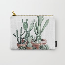 Potted Cacti + Succulents Rose Gold Carry-All Pouch