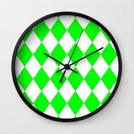 Diamonds (Green/White) Wall Clock