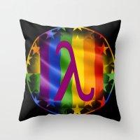 lesbian Throw Pillows featuring Sappho Lesbian Symbol by SwanniePhotoArt