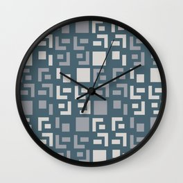 Retro Fancy Cinder Block Pattern Slate Gray Wall Clock