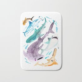 Help Stop Shark Finning - Watercolor Ocean Animals - Fish Bath Mat