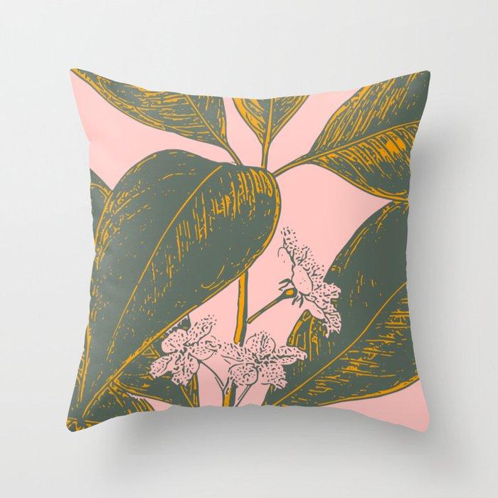 Modern Botanical Banana Leaf Throw Pillow