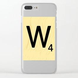 Scrabble Q Initial - Large Scrabble Tile Letter Clear iPhone Case