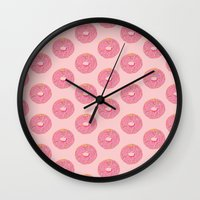 doughnut Wall Clocks featuring Doughnut by Inbeeswax