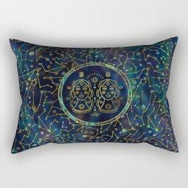 Gemini Zodiac Gold Abalone on Constellation Rectangular Pillow