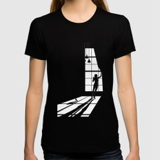 Light SMALL Womens Fitted Tee Black