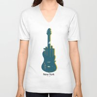new york V-neck T-shirts featuring NEW YORK, NEW YORK by mark ashkenazi