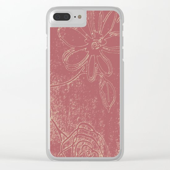 Light pink abstract design vintage velvet look with flowers Clear iPhone Case