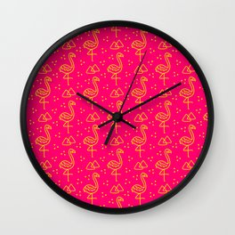 Neon Yellow Flamingoes Wall Clock