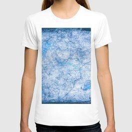 Blue Shimmer Map Design T-shirt