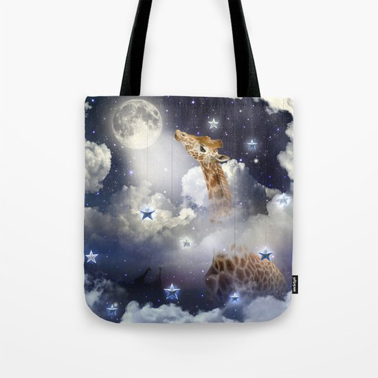 Shoot For The Moon (Giraffe In The Clouds) Tote Bag