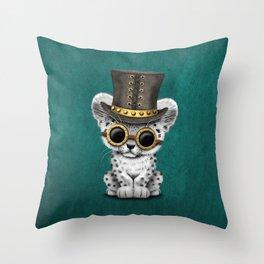 Steampunk Snow Leopard Cub on Blue Throw Pillow