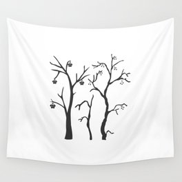 Silhouette of a rowan tree with berries Wall Tapestry