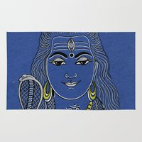 shiva Area & Throw Rugs featuring Lord Shiva by Anastasia Fomina