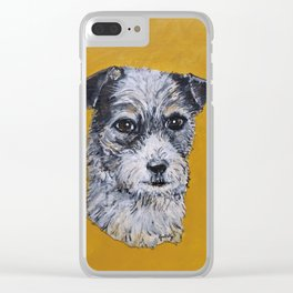 Terrier Mix Dog Portrait Clear iPhone Case