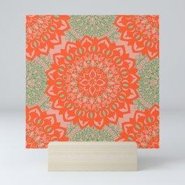 Flower Mandalas Coral Pattern Mini Art Print