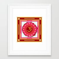 om Framed Art Prints featuring OM by nandita singh