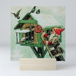 """Feeding Winter Birds"" Elves by Jenny Nystrom Mini Art Print"