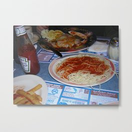 pasta and french fries and eggplant parm Metal Print