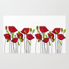 Whimsical Red Poppies Rug